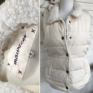 Maurices White Puffer Sherpa Trim Vest
